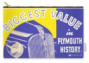 1937 - Plymouth Automobile Advertisement - Color Carry-all Pouch