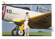 1940s Style Navy Pin-up Girl Leaning Carry-all Pouch by Christian Kieffer