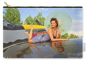 1940s Style Pin-up Girl With Parasol Carry-all Pouch by Christian Kieffer