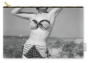 1950s Smiling Young Woman Kneeling Carry-all Pouch