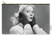 1950s Young Woman Pursing Lips Hands Carry-all Pouch