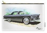 1956 Ford Thunderbird  Black  Classic Vintage Sports Car Art Sketch Rendering         Carry-all Pouch