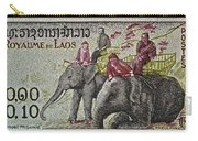 1958 Laos Elephant Stamp IIi Carry-all Pouch