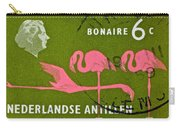 1958 Netherlands Antilles Flamingoes Stamp - Curacao Postmark Carry-all Pouch