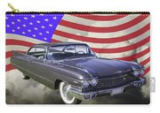 1960 Cadillac Luxury Car And American Flag Carry-all Pouch