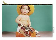 1960s Baby Wearing Cowboy Hat Carry-all Pouch