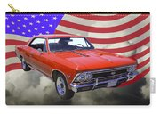 1966 Chevy Chevelle Ss 396 And United States Flag Carry-all Pouch