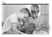1970s Two Boys Seriously Inspecting New Carry-all Pouch