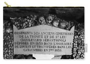 A Marker With Skulls And Bones In The Catacombs Of Paris France Carry-all Pouch