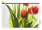 Backlit Tulip Flowers Against White Carry-all Pouch