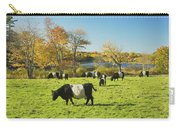 Belted Galloway Cows Grazing On Grass In Rockport Farm Fall Main Carry-all Pouch