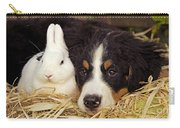 Bernese Mountain Puppy And Rabbit Carry-all Pouch