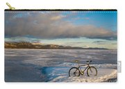 Bike On Frozen Lake Laberge Yukon Canada Carry-all Pouch