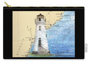 Cockspur Island Lighthouse Ga Nautical Chart Map Art Cathy Peek Carry-all Pouch