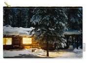 Cozy Log Cabin At Moon-lit Winter Night Carry-all Pouch