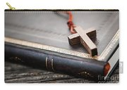 Cross On Bible Carry-all Pouch by Elena Elisseeva