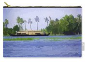 Digital Oil Painting - A Houseboat On Its Quiet Sojourn Through The Backwaters Carry-all Pouch