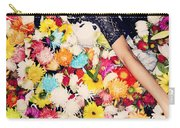 Fashion Model Posing With Flowers Carry-all Pouch