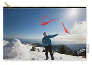Flying A Kite On A Snowy Mountain Carry-all Pouch