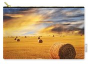 Golden Sunset Over Farm Field With Hay Bales Carry-all Pouch
