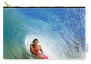 Hawaii, Maui, Makena - Big Beach, Boogie Boarder Riding Barrel Of Beautiful Wave. Carry-all Pouch
