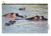 Hippopotamus Group In River. Serengeti. Tanzania. Carry-all Pouch