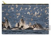 Humpback Whales Feeding With Gulls Carry-all Pouch