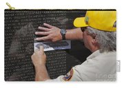 Man Getting A Rubbing Of Fallen Soldier's Name At The Vietnam War Memorial Carry-all Pouch