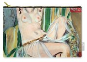 Matisse's Odalisque Seated With Arms Raised In Green Striped Chair Carry-all Pouch
