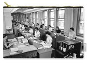 Office Workers Entering Data Carry-all Pouch by Underwood Archives