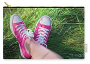 Pink Sneakers On Girl Legs On Grass Carry-all Pouch