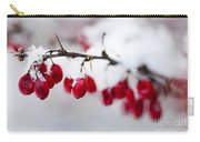 Red Winter Berries Under Snow Carry-all Pouch by Elena Elisseeva