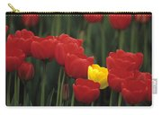 Rows Of Red Tulips With One Yellow Tulip Carry-all Pouch by Jim Corwin