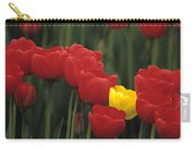 Rows Of Red Tulips With One Yellow Tulip Carry-all Pouch