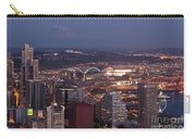 Seattle Skyline With Mount Rainier And Downtown City Lights Carry-all Pouch