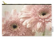 2 Silver Pink Painterly Gerber Daisies Carry-all Pouch