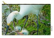 Snowy Egret Tending Young Carry-all Pouch
