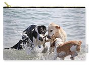 Three Dogs Playing On Beach Carry-all Pouch
