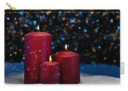 Three Red Candles In Snow  Carry-all Pouch