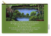 Twin Ponds And 23 Psalm On Green Carry-all Pouch
