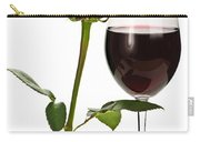 Wine With Red Rose Carry-all Pouch by Elena Elisseeva
