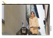 Woman Walking With Her Dog Carry-all Pouch