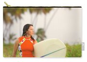 A Woman Carries A Surfboard To The Beach Carry-all Pouch