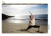A Women At The Beach Performing Yoga Carry-all Pouch