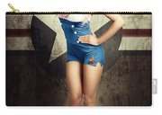 American Fashion Model In Military Pin-up Style Carry-all Pouch