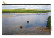 3-lay Of Land Grizzly Bears In Moraine River In Katmai National Preserve-ak Carry-all Pouch