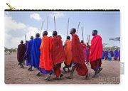 Maasai Men In Their Ritual Dance In Their Village In Tanzania Carry-all Pouch
