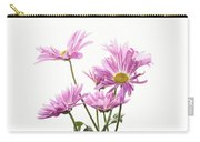 Mums Flowers Against White Background Carry-all Pouch