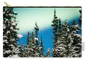 Northern Lights Aurora Borealis And Winter Forest Carry-all Pouch