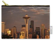 Seattle Skyline With Space Needle And Stormy Weather Carry-all Pouch